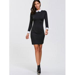 Sheath Mini Long Sleeve Collared Dress - BLACK XL