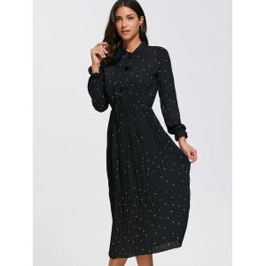 Long Sleeve Polka Dot Midi Pleated Dress -