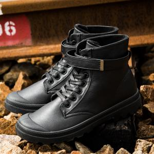 Metal Tie Up PU Leather Boots - BLACK 43