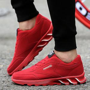Lace-Up Letter Pattern Suede Athletic Shoes - RED 43