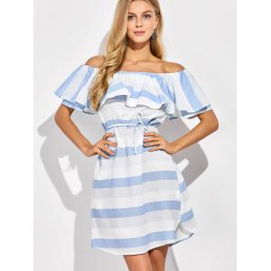 Off The Shoulder Striped Ruffles Dress -