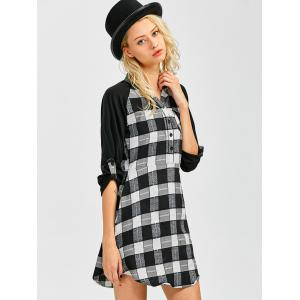 Lace Inset Checked Mini Shift Shirt Dress - CHECKED XL