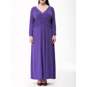 Plus Size Ruched Maxi Formal Dress with Long Sleeves