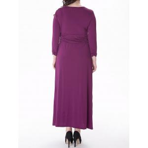 Plus Size Ruched Maxi Formal Dress with Long Sleeves -