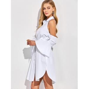 Cold Shoulder Flare Long Sleeve Shirt Dress - WHITE 2XL