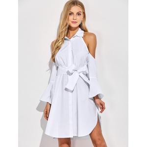 Cold Shoulder Flare Long Sleeve Button Up Shirt Dress -
