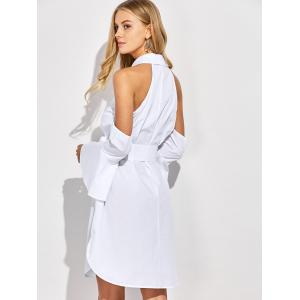 Cold Shoulder Flare Long Sleeve Button Up Shirt Dress - WHITE S