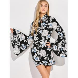 Floral Print Trumpet Sleeve Dress -