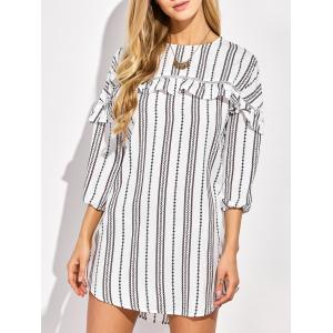 Casual Round Neck Ruffles Striped Shift Dress with Sleeves -