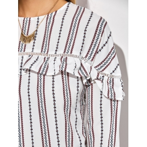 Casual Round Neck Ruffles Striped Shift Dress with Sleeves - WHITE S
