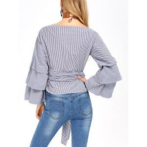 V Neck Layered Sleeve Striped Wrap Blouse - BLUE AND WHITE 2XL