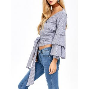 V Neck Layered Sleeve Striped Wrap Blouse - BLUE AND WHITE L