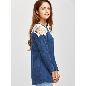 Slit Lace Spliced Loose Sweater - BLUE XL