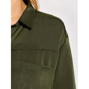 Tie Front Casual Shirt - GREEN 2XL
