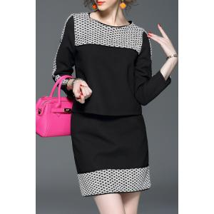 Long Sleeve Print Tee and Print Mini Skirt - Black - L