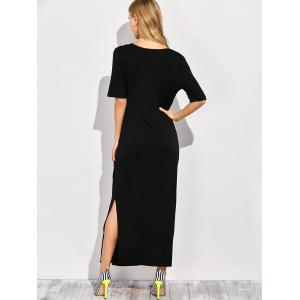 V Neck Side Slit Maxi T-shirt Dress -