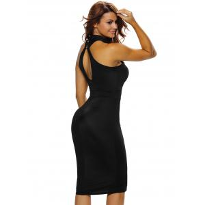Mesh Insert Bodycon Night Out Dress - BLACK M