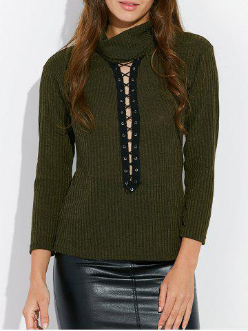 Buy Lace Up Mock Neck Tee