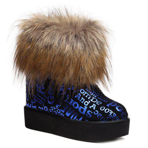 Shops Faux Fur Letter Printed Snow Boots