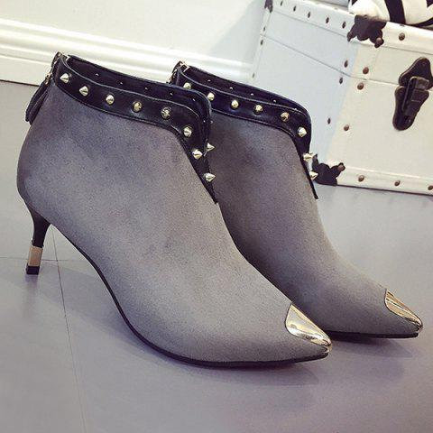 Store Metal Toe Rivets Zipper Ankle Boots