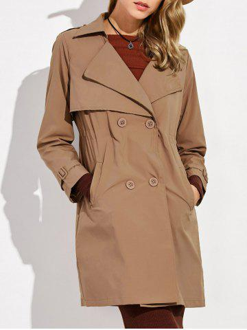 Chic Button Up Drawstring Trench Coat