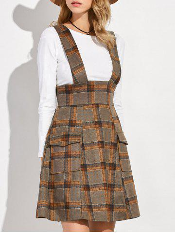 Latest Plaid Suspender Skirt and Slim Fit T-Shirt