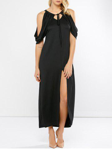 Fashion Keyhole Slit Open Shoulder Maxi Party Dress