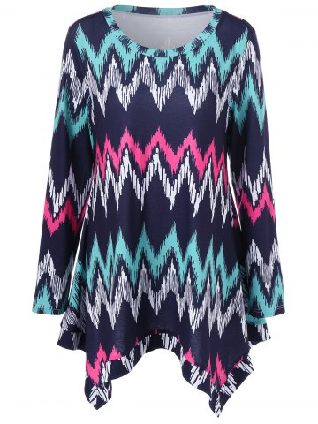 Fancy Plus Size Zigzag Asymmetrical T-Shirt PURPLISH BLUE XL