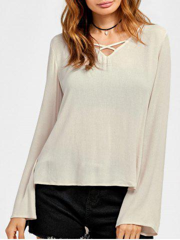 Chic Lace Trim High Low Blouse