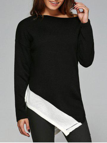 New Slash Neck Asymmetrical Knitwear WHITE AND BLACK M