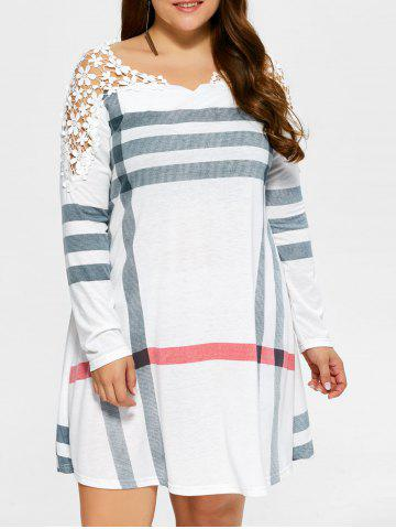 Chic Plus Size Casual Lacework Splicing Stripes Swing Dress WHITE 5XL