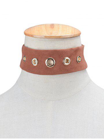 Hot Rivet Suede Choker Necklace BROWN