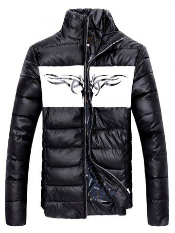 Sale Zip Up Stand Collar Printed Quilted Jacket