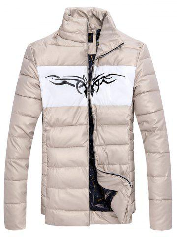 Store Zip Up Stand Collar Printed Quilted Jacket