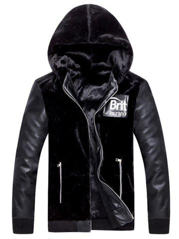 Best Applique Zip Up Hooded PU Panel Plush Jacket