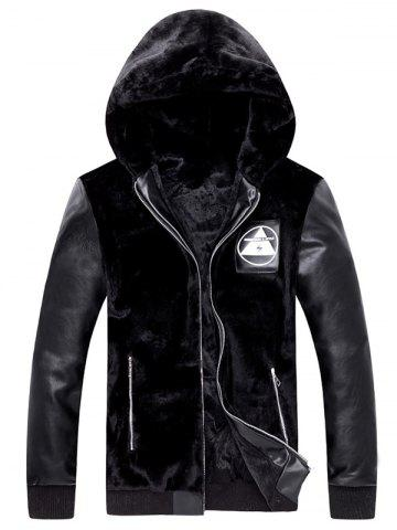 Trendy Zip Up PU Insert Applique Hooded Plush Jacket
