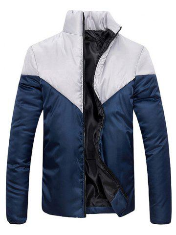 Fashion Stand Collar Zip Up Color Block Jacket