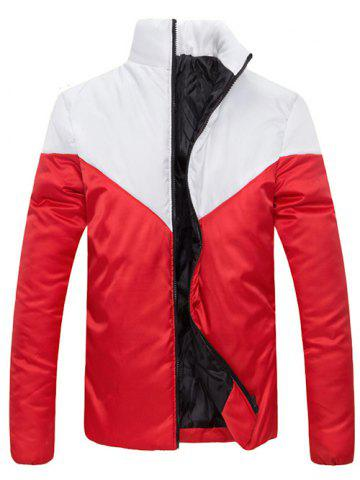 Latest Stand Collar Zip Up Color Block Jacket