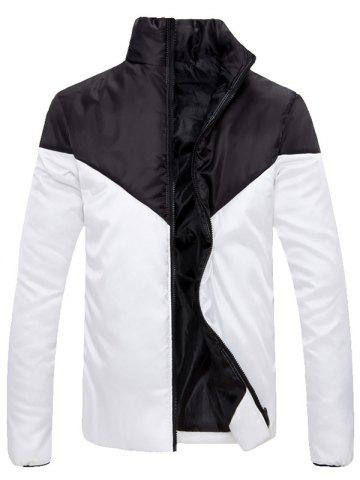 Best Stand Collar Zip Up Color Block Jacket