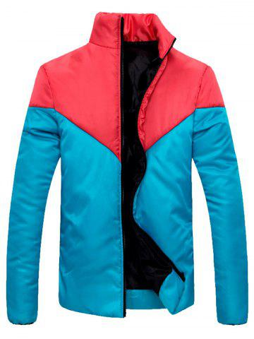 Cheap Stand Collar Zip Up Color Block Jacket