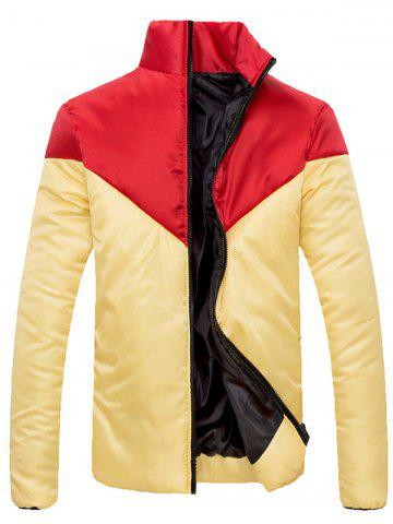 Outfit Stand Collar Zip Up Color Block Jacket