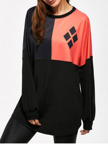 Buy Dolman Sleeve Geometric Print Contrast Long Sweatshirt