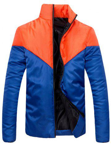Trendy Stand Collar Zip Up Color Block Jacket
