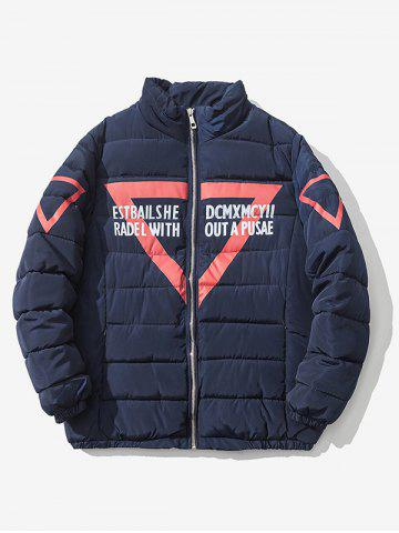 Fashion Zip Up Graphic Printed Quilted Jacket