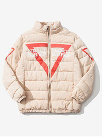Unique Zip Up Graphic Printed Quilted Jacket