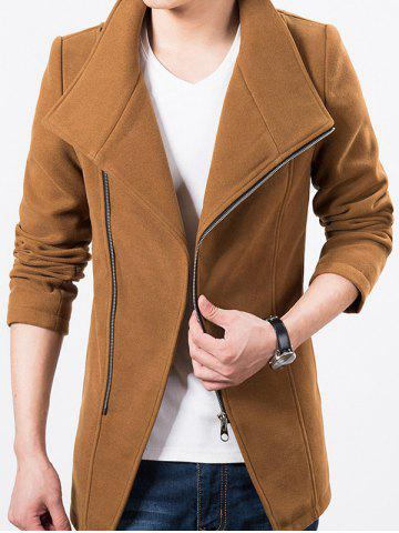 Stand Collar Side Zip Up Wool Blend Jacket