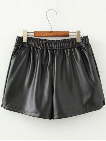 Online Plus Size Furcal Faux Leather Shorts