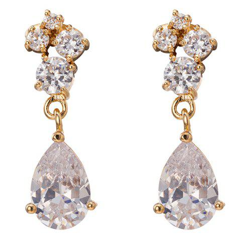 Hot Faux Crystal Water Drop Dangle Earrings