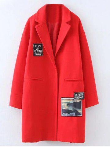 Shops Plus Size Picture Patched Lapel Coat