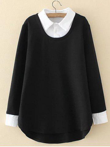 Discount Plus Size Shirt Collar Insert Sweatshirt BLACK 3XL